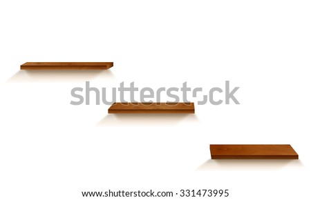 Three wood shelves with shadows on white background