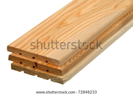 Three wooden boards are isolated on a white background - stock photo