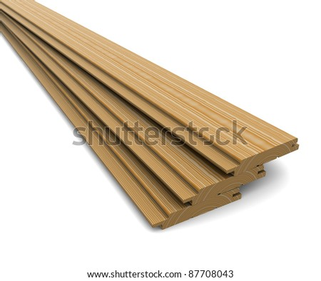 Three wooden boards on a white background - stock photo