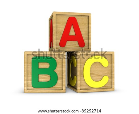 three wooden cubes with a, b, c letters (3d render) - stock photo