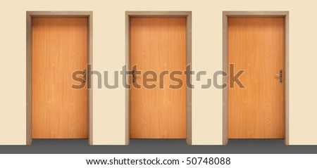 three wooden doors.  office interior - stock photo