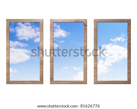 three wooden windows with sky isolated on white