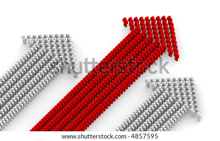 Three working collective, form up in arrow - stock photo
