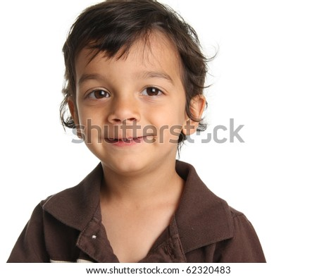 Three year old boy of Caucasian and Indian heritage.