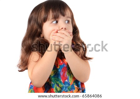 Three year old brunette caucasian girl with surprised, or scared look on her face on a white background - stock photo
