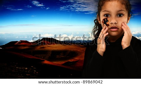Three year old cyborg robot child with wound on face showing wires and tubes inside. Fantasy world in background.  Background is digital illustration.  Child is photograph. - stock photo