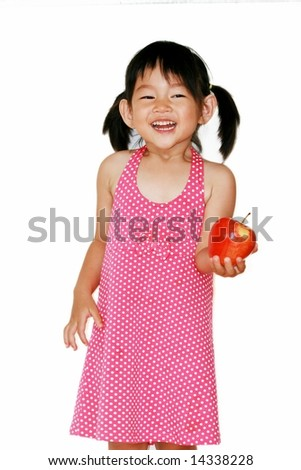 three-year-old girl on white background