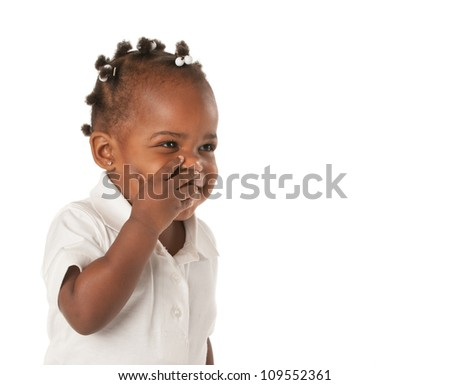 Three Years Old Adorable African American Girl with Braided Hair Covering Face Laughing on White Background - stock photo