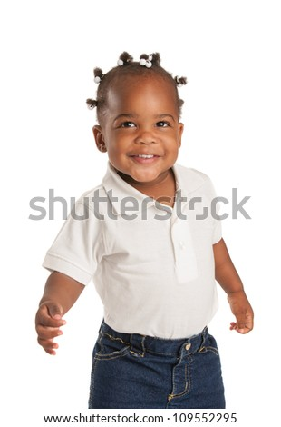 Three Years Old Adorable African American Girl with Braided Hair Wave Hand on White Background - stock photo