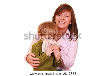 three years old boy and his mother isolated on white - stock photo