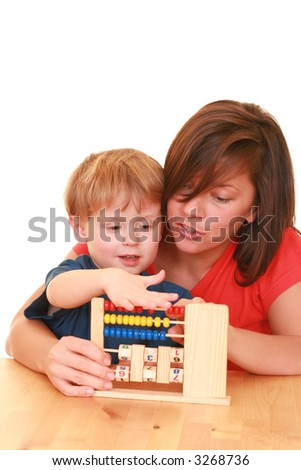 three years old boy and his mother with abacus isolated on white