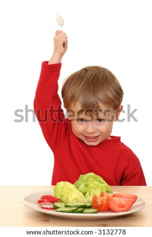 three years old boys and plate of fresh vegetables isolated on white - stock photo