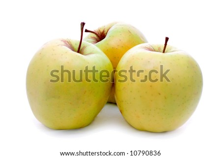 Three yellow apple on a white background
