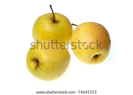 three yellow apples - stock photo