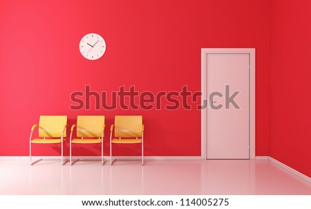 Three yellow chairs and wall clock in the waiting room - stock photo