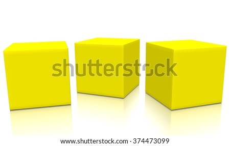 Three yellow 3d blank concept boxes next to each other, with reflection, isolated on white background. Rendered illustration.  - stock photo