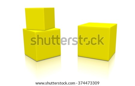 Three yellow 3d blank concept boxes with shadows isolated on white background. Rendered illustration.  - stock photo
