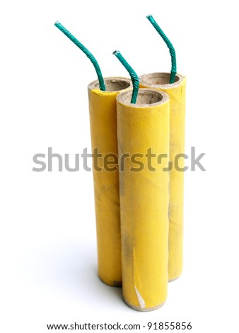 Three yellow firecrackers on a white background. - stock photo
