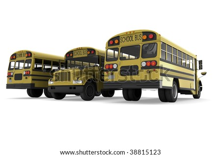 Three yellow school buses isolated on white background