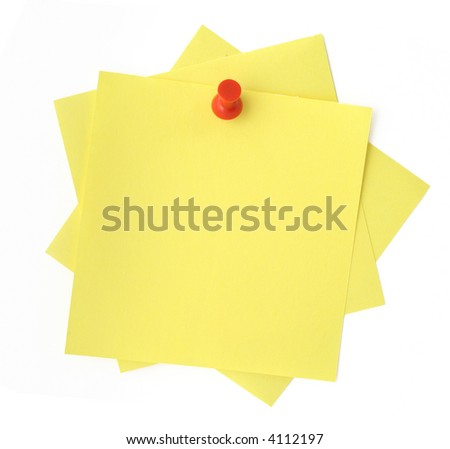 three yellow sticky notes thumbtacked to white background - stock photo