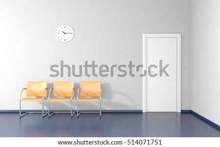 Three yellow stools and wall clock in the waiting room 3D render