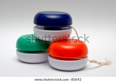 Three Yo Yo Pyramid - stock photo