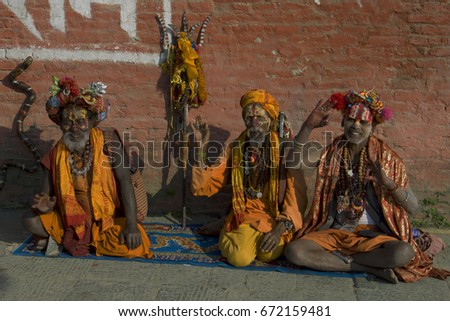 Three Yoga Sadhu Kathmandu Nepal