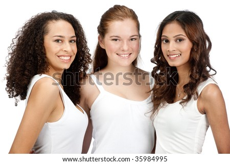 Three young and attractive teenagers with diverse ethnicities against white background