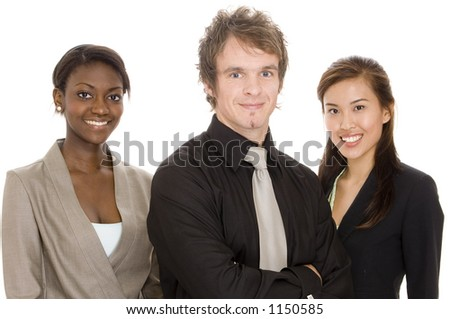 Three young attractive individuals make a diverse business team