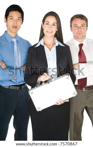 Three young businessmen and woman with a small metal case on white background