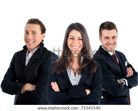 Three young businessmen teamwork isolated on white
