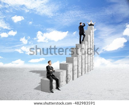 Three young businesspeople standing, sitting and meditating on abstract concrete chart bars with business doodles on sky background. Financial growth and success concept