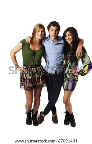 Three Young Friends, Guys and Girls - stock photo