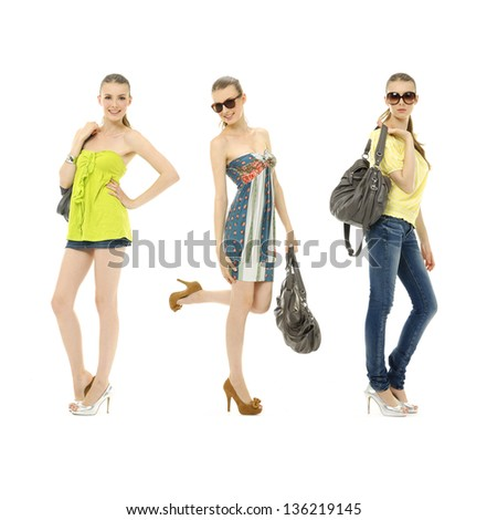 three young girl in summer dress in sunglasses and with bag-full body