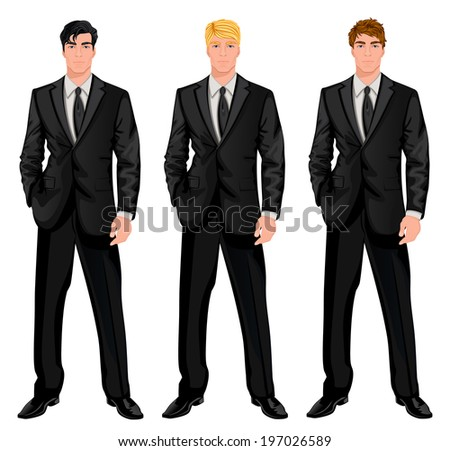 Three young handsome businessmen in formal suits with various hair color tints and haircut styles  illustration - stock photo