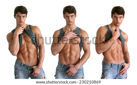 Three young muscular men showing their abs isolated on white - stock photo