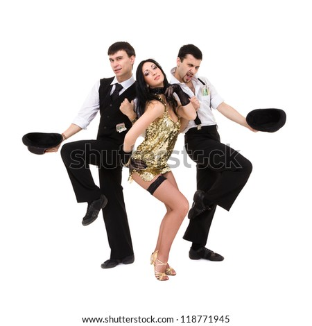 three  young old-fashioned dancers dancing, isolated over white background. - stock photo
