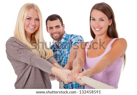 Three young people pulling rope. All on white background. - stock photo