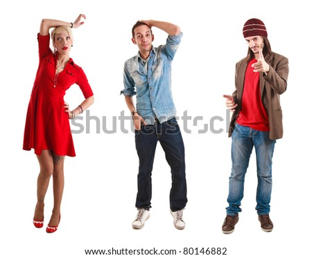 Three young persons having fun - stock photo