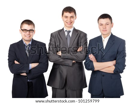 Three young smiling business men standing with folded hands isolated on white background - stock photo