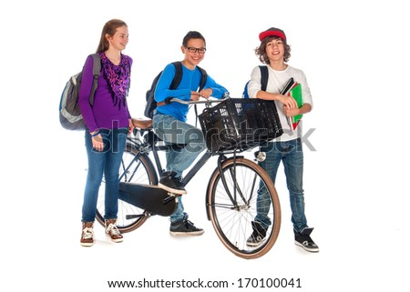 three young students, one with a bike are talking, on a white background