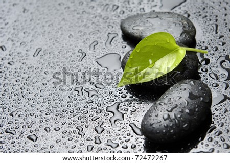Three zen stones and leaves with water drops - stock photo