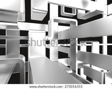 threedimensional endless metal labyrinth with black background - stock photo