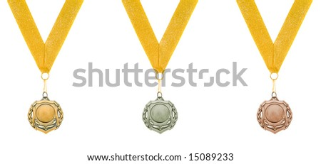 threee medals isolated over white - stock photo