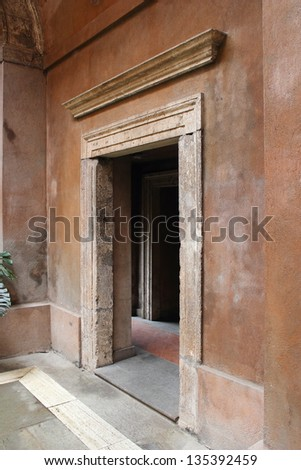 threshold of medieval building in Rome, Italy