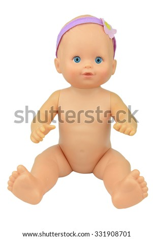 thrift shop naked baby girl doll, sitting on isolate background, raising arm - stock photo