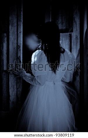 Thriller Scene of a Scary Woman - Bride - stock photo