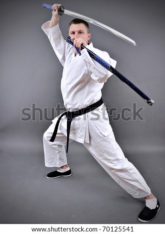 thrilling to see individual open katana a single edged Japanese sword - stock photo