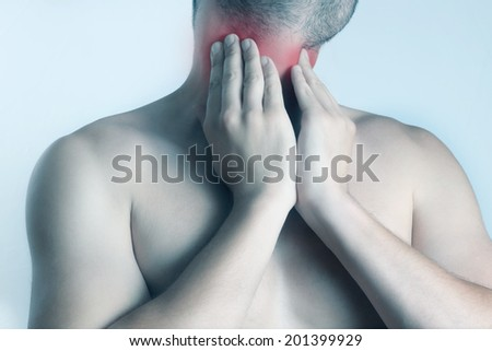 Throat pain  Acute pain in a throat at the young men - stock photo