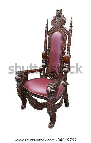 Throne-like armchair in white background - stock photo